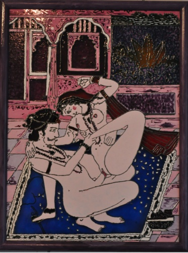 "painting on glass ""Extract from the Kama Sutra"""