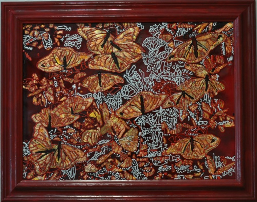 "painting on glass ""Golden Butterfly"""